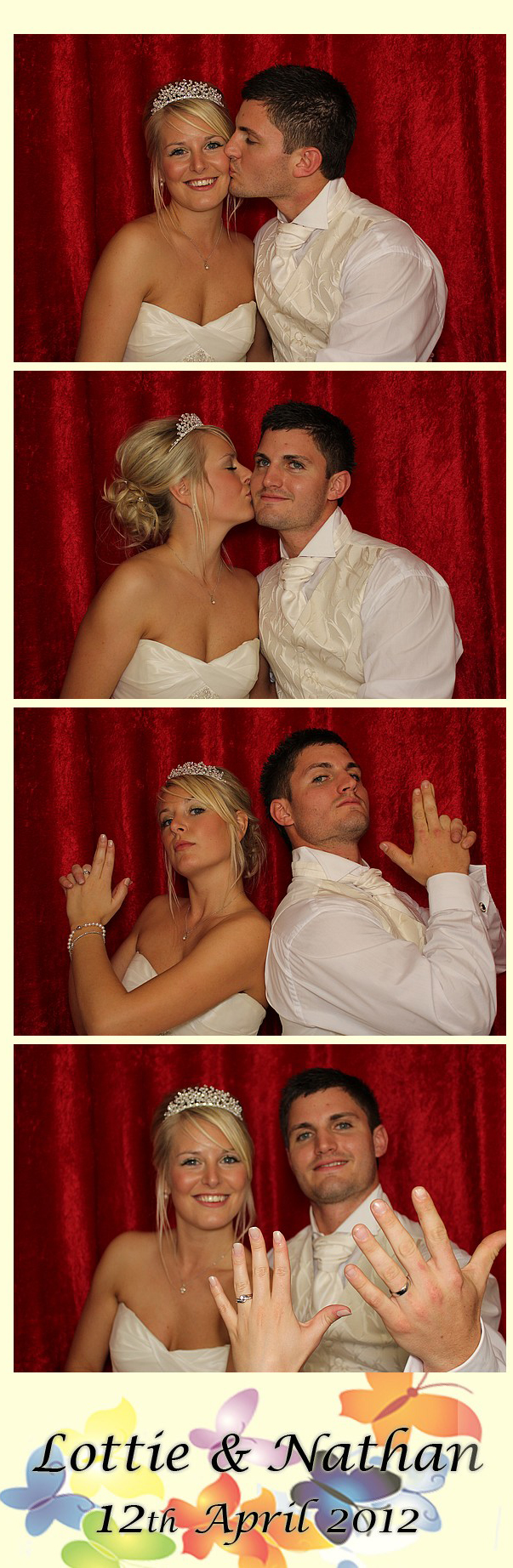 Bride and Groom in a Smiley Booth Photo booth